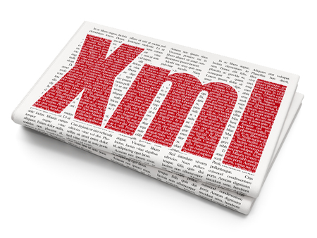 xml: Programming concept: Pixelated red text Xml on Newspaper background, 3D rendering