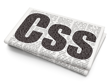 xml: Software concept: Pixelated black text Css on Newspaper background, 3D rendering