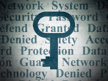 protect: Protection concept: Painted blue Key icon on Digital Data Paper background with  Tag Cloud Stock Photo