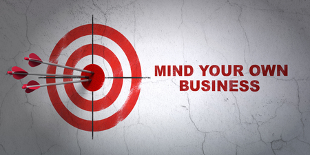 Success business concept: arrows hitting the center of target, Red Mind Your own Business on wall background, 3D rendering Фото со стока