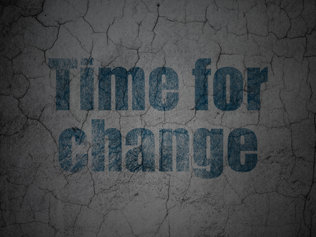 Timeline concept: Blue Time For Change on grunge textured concrete wall background Stock Photo