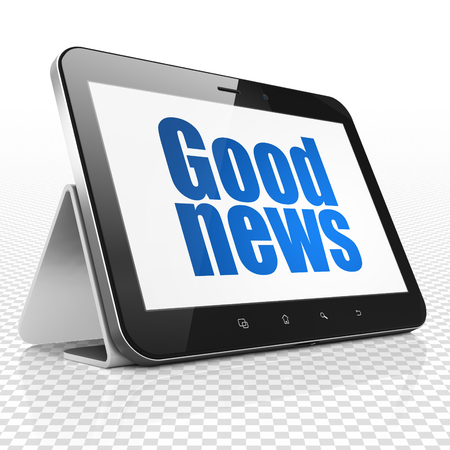 News concept: Tablet Computer with blue text Good News on display, 3D rendering