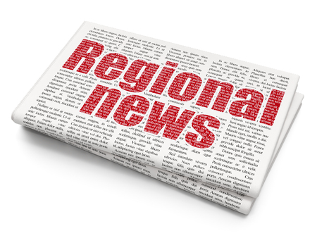 printout: News concept: Pixelated red text Regional News on Newspaper background, 3D rendering