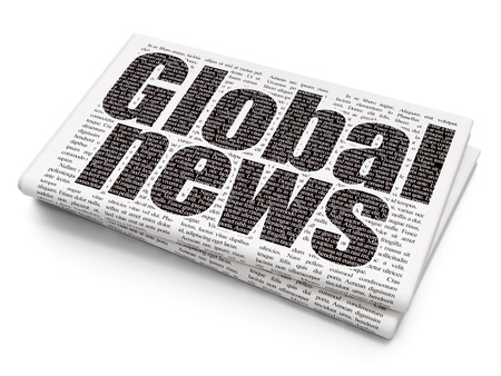 printout: News concept: Pixelated black text Global News on Newspaper background, 3D rendering