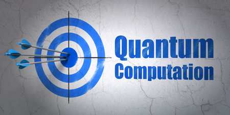 hit tech: Success Science concept: arrows hitting the center of target, Blue Quantum Computation on wall background, 3D rendering Stock Photo