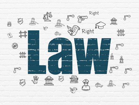protect: Law concept: Painted blue text Law on White Brick wall background with  Hand Drawn Law Icons