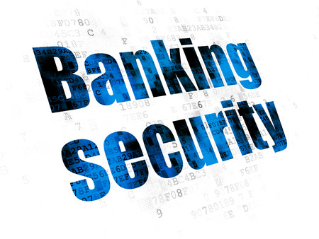 pin code: Safety concept: Pixelated blue text Banking Security on Digital background