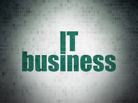 Business concept: Painted green word IT Business on Digital Data Paper background