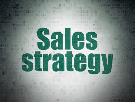 Marketing concept: Painted green word Sales Strategy on Digital Data Paper background