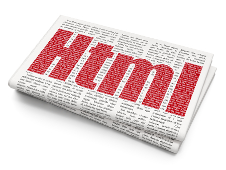xml: Software concept: Pixelated red text Html on Newspaper background, 3D rendering