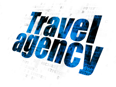 Travel concept: Pixelated blue text Travel Agency on Digital background
