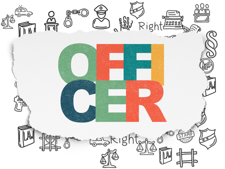 Law concept: Painted multicolor text Officer on Torn Paper background with  Hand Drawn Law Icons