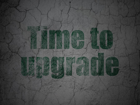 Timeline concept: Green Time To Upgrade on grunge textured concrete wall background