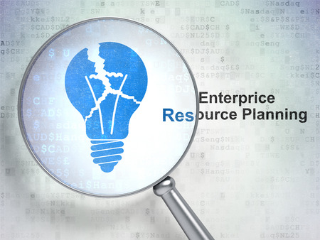 broken strategy: Finance concept: magnifying optical glass with Light Bulb icon and Enterprice Resource Planning word on digital background, 3D rendering
