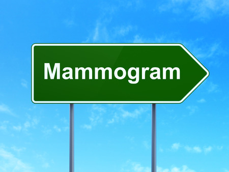 mammogram: Medicine concept: Mammogram on green road highway sign, clear blue sky background, 3D rendering