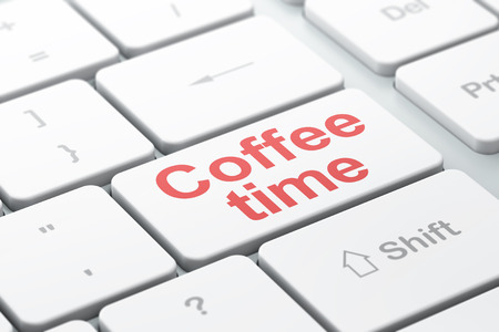 Time concept: computer keyboard with word Coffee Time, selected focus on enter button background, 3D rendering
