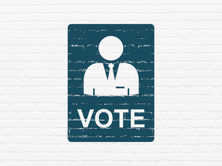 agitation: Political concept: Painted blue Ballot icon on White Brick wall background
