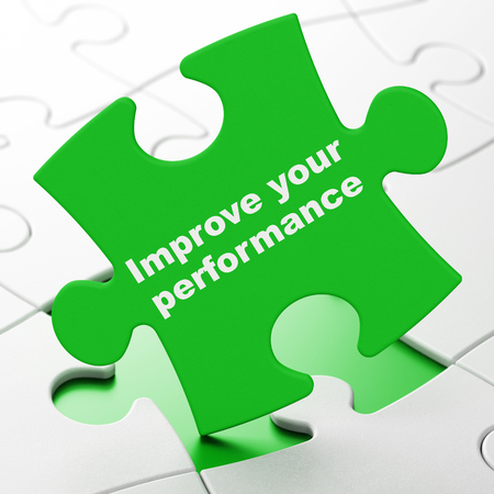 Studying concept: Improve Your Performance on Green puzzle pieces background, 3D rendering