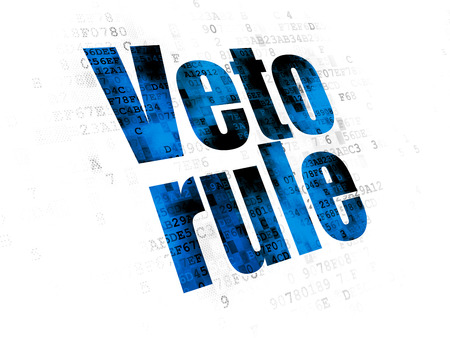 Politics concept: Pixelated blue text Veto Rule on Digital background