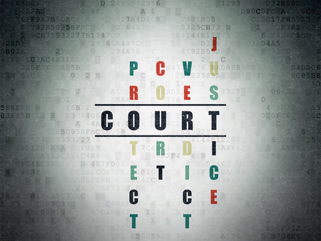 data protection act: Law concept: Painted black word Court in solving Crossword Puzzle on Digital Data Paper background