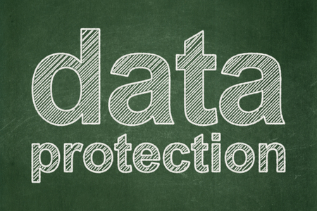 pin board: Safety concept: text Data Protection on Green chalkboard background