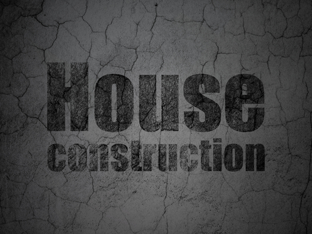 abandoned house: Constructing concept: Black House Construction on grunge textured concrete wall background Stock Photo