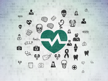 medical drawing: Health concept: Painted green Heart icon on Digital Data Paper background with  Hand Drawn Medicine Icons