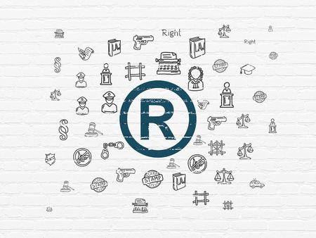 r regulation: Law concept: Painted blue Registered icon on White Brick wall background with  Hand Drawn Law Icons