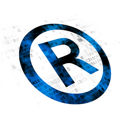 r regulation: Law concept: Pixelated blue Registered icon on Digital background Stock Photo