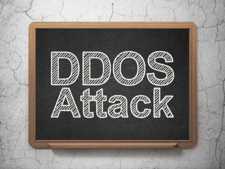 information age: Security concept: text DDOS Attack on Black chalkboard on grunge wall background, 3D rendering Stock Photo