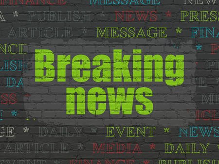 urgent announcement: News concept: Painted green text Breaking News on Black Brick wall background with  Tag Cloud