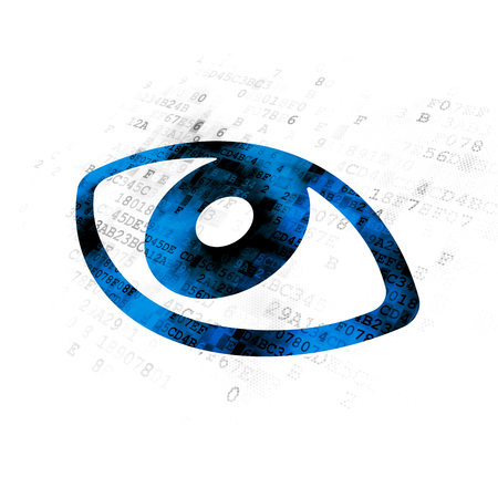 pin code: Security concept: Pixelated blue Eye icon on Digital background