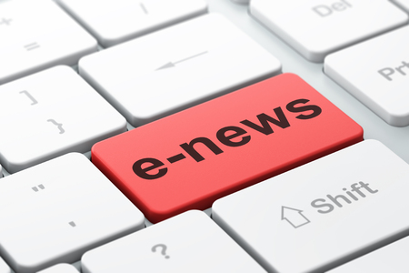 selected: News concept: computer keyboard with word E-news, selected focus on enter button background, 3D rendering