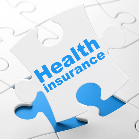 Insurance concept: Health Insurance on White puzzle pieces background, 3D rendering