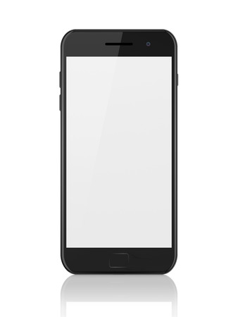 Modern black smartphone with blank screen. Generic mobile smart phone with reflection on white background, 3d render