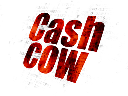 cash cow: Finance concept: Pixelated red text Cash Cow on Digital background