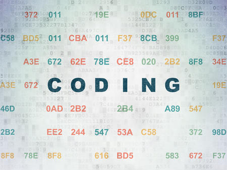css: Programming concept: Painted blue text Coding on Digital Data Paper background with Hexadecimal Code