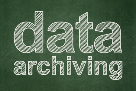 Information concept: text Data Archiving on Green chalkboard background