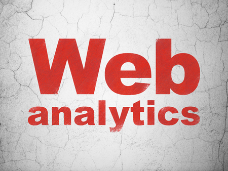 Web design concept: Red Web Analytics on textured concrete wall background