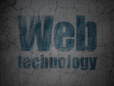 Web design concept: Blue Web Technology on grunge textured concrete wall background