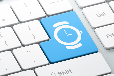 Time concept: Enter button with Hand Watch on computer keyboard background, 3D rendering Stock Photo