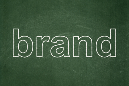 Advertising concept: text Brand on Green chalkboard background Banco de Imagens