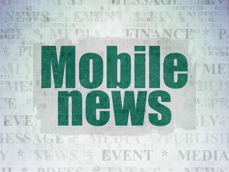 urgent announcement: News concept: Painted green text Mobile News on Digital Data Paper background with   Tag Cloud