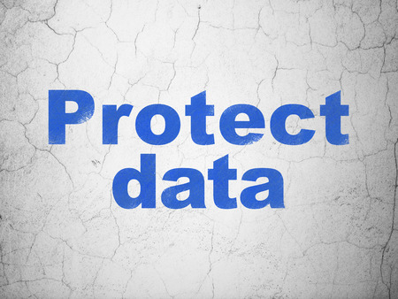 information age: Protection concept: Blue Protect Data on textured concrete wall background