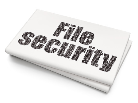 Privacy concept: Pixelated black text File Security on Blank Newspaper background, 3D rendering Stock Photo