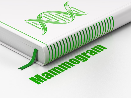 mammogram: Health concept: closed book with Green DNA icon and text Mammogram on floor, white background, 3D rendering Stock Photo