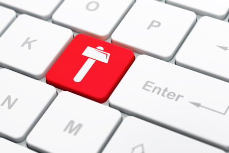 selected: Building construction concept: computer keyboard with Hammer icon on enter button background, selected focus, 3D rendering