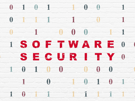 drawing pin: Privacy concept: Painted red text Software Security on White Brick wall background with Binary Code Stock Photo