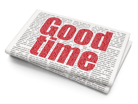 Time concept: Pixelated red text Good Time on Newspaper background, 3D rendering Stock Photo