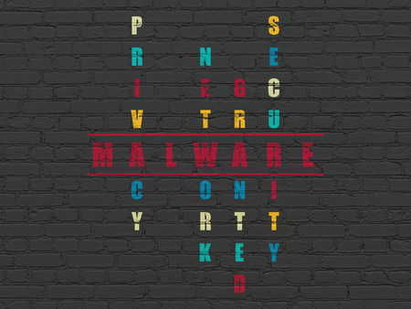 crack: Security concept: Painted red word Malware in solving Crossword Puzzle Stock Photo